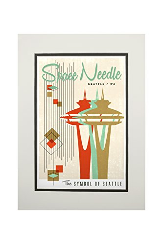 (The Space Needle - Simple Block Color - Mid Century Modern Graphic Design (11x14 Double-Matted Art Print, Wall Decor Ready to Frame) )