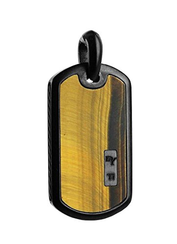 David Yurman GORGEOUS BLACK TITANIUM INLAY TIGER EYE LARGE 35 mm DOG TAG #52P