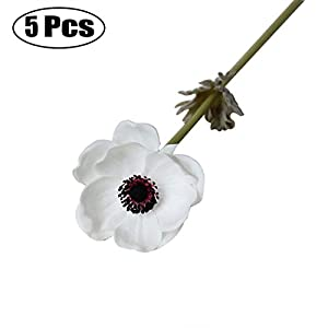 outgeek 5 Branches Artificial Flower Fake Branches Simulative Anemone Faux Flower Artificial Party Flower 27