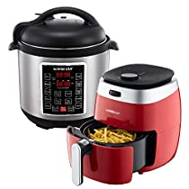 GoWISE USA 3.7-Quart Dial Control Air Fryer (Red, GW22823) + Recipe Book AND GoWISE USA 8-Quart 10-in-1 Electric Pressure Cooker (Stainless Steel, GW22623) + Recipe Book