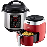 GoWISE USA 3.7-Quart Dial Control Air Fryer (Red, GW22823) + Recipe Book AND GoWISE USA 6-Quart 10-in-1 Electric Pressure Cooker (Stainless Steel, GW22620) + Recipe Book