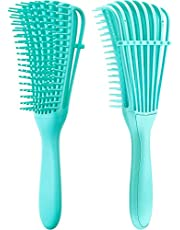 2 Pack Detangling Brush for Curly Hair, ez Detangler Brush Hair Detangler, Afro Textured 3a to 4c Kinky Wavy for Wet/Dry/Long Thick Curly Hair, Exfoliating for Beautiful and Shiny Curls…