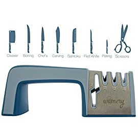 Wamery Professional Knife Sharpener Best. Scissor Sharpeners Professional, Works Great as seen on tv. 4-Stage Kitchen Knife Sharpening Tool. Knife and Scissor Sharpener, Shear Sharpener. 17 ✔️ KITCHEN PROFESSIONAL: 4 sharpening stages. 1- For Scissors, 2- Coarse, 3- Fine and 4- Ceramic (for different levels of sharp), and a silicon handle for more control, replace bavarian edge and fiskars scissor sharpener. Ideal for your expensive chef's knifes. Avoid serrated blades. Sharpening steel, work for porcelain knives. ✔️ SAFE: The kitchen scissors best seller sharpening and knife sharpener has an easy design to fit into any kitchen drawer and blend with your cooking utensils. This manual sharpener comes with non slip pads that provide control for a safe job. A kitchen utensil for everyone, from chefs to seniors. ✔️ EASY TO USE: As seen on tv professional knife sharpener, Set your chef knife sharpener best, get the dull blade on the sharpening slot, stroke knives & scissors towards you, 3 or 4 times in each slot (avoid backward & forward motion). Watch our demonstration video. No rust, and no more grinding your knives on handheld stones