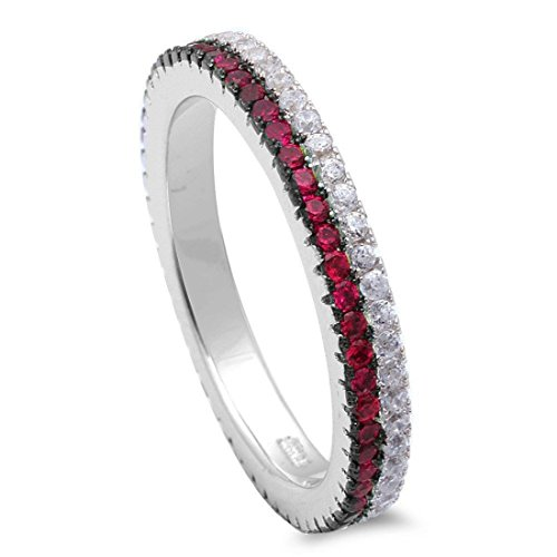 3mm Full Eternity Stackable Thin Red Double Row Band Ring Simulated Ruby Round CZ 925 Sterling Silver, Size-8