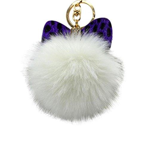 AutumnFall® Fluffy Faux Rabbit Fur Ball Charm Car Keychain Handbag Key Ring (# 7)