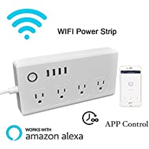 Wifi Smart Power Strip Socker, boscheng Smart Multi Outlets franja Oulet Surge Protector Con 4enchufes y 4puertos USB, auxiliar de trabajo con Alexa Echo & Google, Blanco