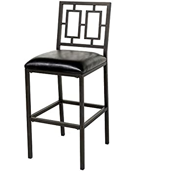 Amazon Com Lansing Metal Barstool With Black Upholstered