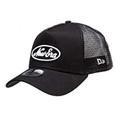Freshen up your style this season with the mens Script Trucker cap from New Era. The sleek black cotton front is complimented with a tonally matching mesh back and finished with striking white embroidered branding on the front.