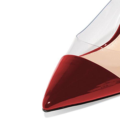 Fsj Kvinder Mode Klare Spidse Tå Sandaler Lave Hæle Muldyr Slip På Stilethæl Sexede Sko Str 4-15 Os Rød Patent BRsJ6mY
