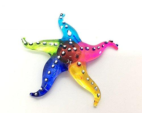 Hand Blown Art Glass,Starfish Miniature Animals Collection, Dollhouse Miniatures, by Audomna Shop.(N0069) (Hand Jar Blown Glass)