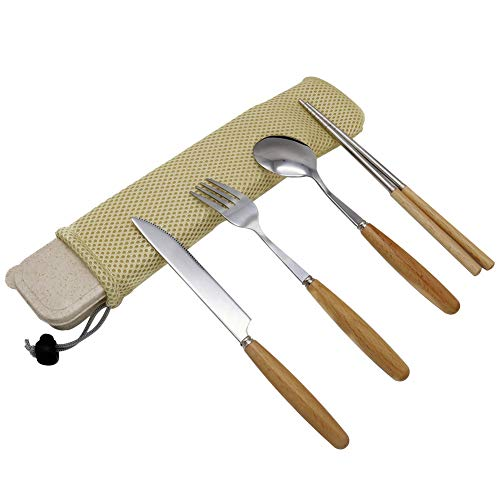 Portable Flatware Set,Spoon & Fork & Knife & Chopsticks, 4Pcs Reusable Stainless Steel Flatware/Travel Cutlery Set/Wood Handle Flatware with Gift Box and Mesh Bag for Home Camping ()