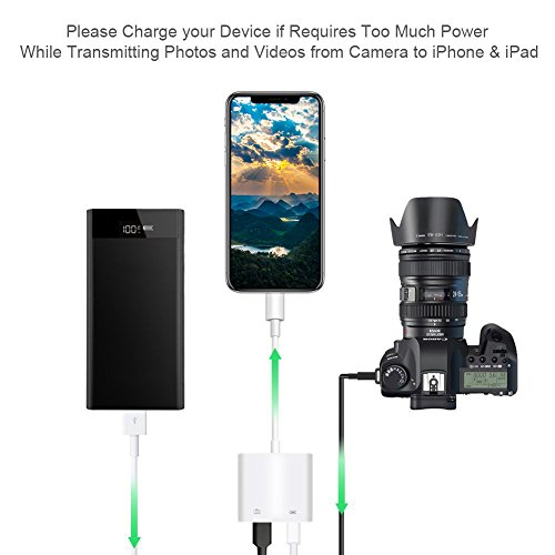 RayCue Lightning to USB Camera Adapter, Lightning to USB Female OTG Cable Adapter, Camera Data Sync and Keyboard Adapter, Upgraded for iPhone X/8/7/6/6s/5s/iPad/iPad pro/Mini/Air, iPod, No App Needed by RayCue (Image #1)