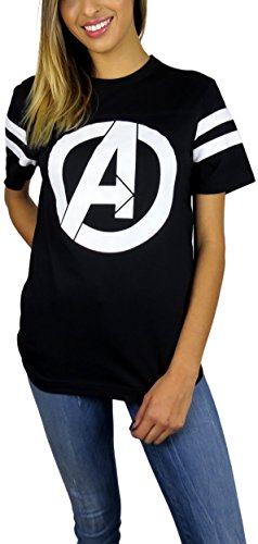 Marvel Womens Avengers Logo Varsity Football Tee Black X-Large