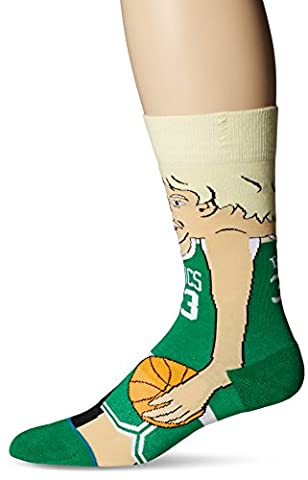 Stance Men's NBA Legends Crew Socks, Bird, Large/Shoe Size 9