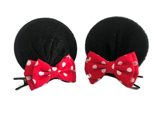 Double Bows Red Pink Polka Dot Clips for Baby Girls Toddlers Costume Accessory: M23 (MC 2 Bows)