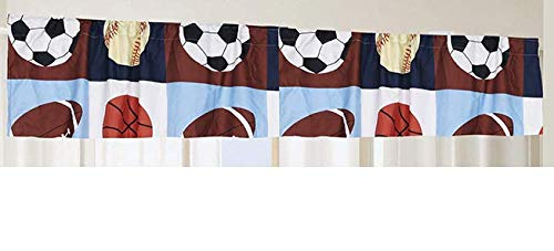 (Golden Linens 1 Piece Rod Pocket Window Valance Printed Navy Blue, Sky Blue, Brown, Orange Kids Sports Basketball Football Baseball # 02- Valance)