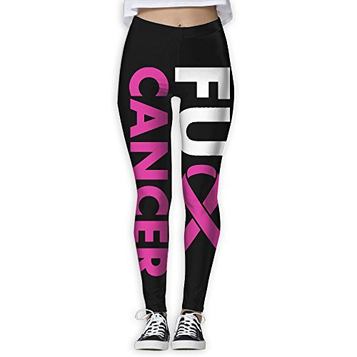 CAWHJDW Fuck Breast Cancer Pink Ribbon Women High Waist Yoga Pants Yoga Capris Pants Quick Dry Workout Leggings Capris