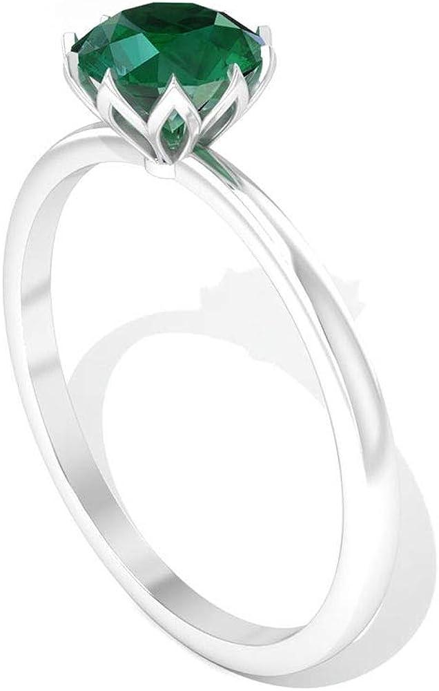 Anillo de compromiso con solitario esmeralda de 0,80 quilates, con piedra natal verde de mayo, anillos de aniversario de boda, anillos de promesa de novia antiguos, regalos para el día de la madre