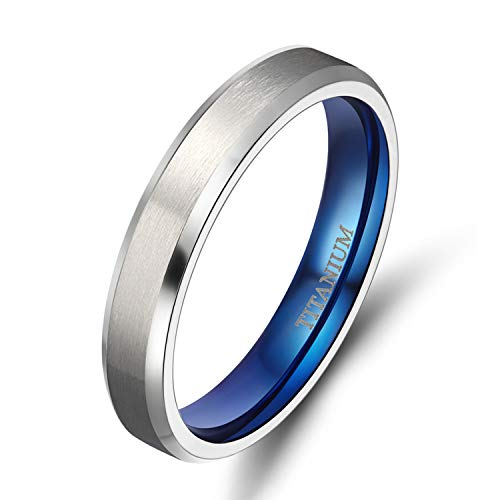 TIGRADE 4MM/6MM/8MM/10MM Unisex Titanium Wedding Band Rings in Comfort Fit Matte Finish for Men Women (Blue 4mm, 11)