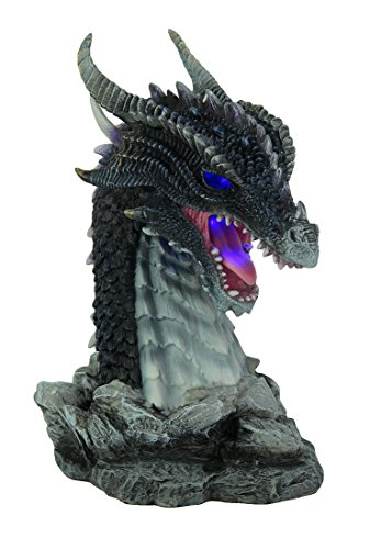 Veronese Resin Statues Hand Painted Obsidian Dragon Bust Statue With Led Lights 6 X 8.25 X 5 Inches Gray