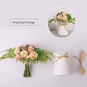 YUYAO Artificial Flowers Rose Bouquets with Vase Fake Silk Flower with Ceramic Vase Modern Bridal Flowers for Wedding Home Table Office Party Patio Decoration (Pink) 5