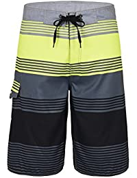 e911bf7f5d5db Men's Quick Dry Swim Trunks Colorful Stripe Beach Shorts with Mesh Lining