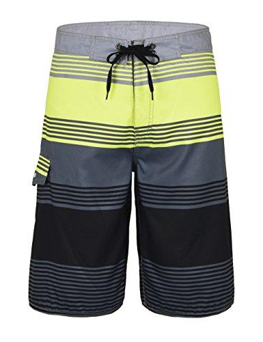 Nonwe Men's Beach Shorts Swim Trunks Swimwear Shorts Beach Pants Board ShortsGrey Stripes 32 ()