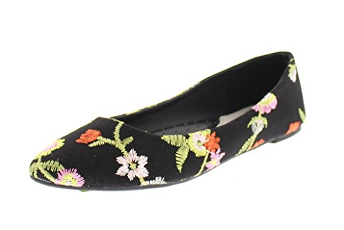 Gold Toe Women's Lois Dressy Floral Embroidered Ballet Flat Pump No Heel Pointed Toe Slip On Comfort Shoe Black 7 (Black Ballet Pumps)