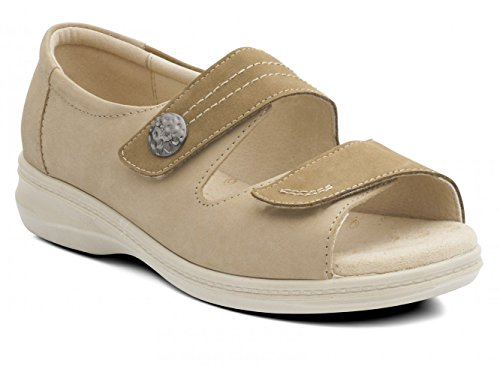 Padders Femmes Sandale en Cuir 'Shore' | Super Grande Taille EEEE | Talon 35mm | Avec Chausse-Pied Gratuit Pebble / Bamboo Nb YZSNngD