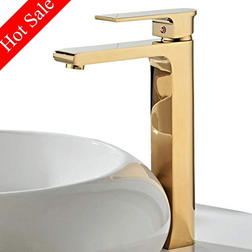 Contemporary Single Handle Tall Vessel Sink Bathroom Faucet, Lavatory Basin Mixer Tap,Gold
