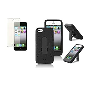 Cerhinu CommonByte For iPhone 5 G 5th Gen Hybrid w/Stand Black/Black Cover Skin Case+Diamond Film