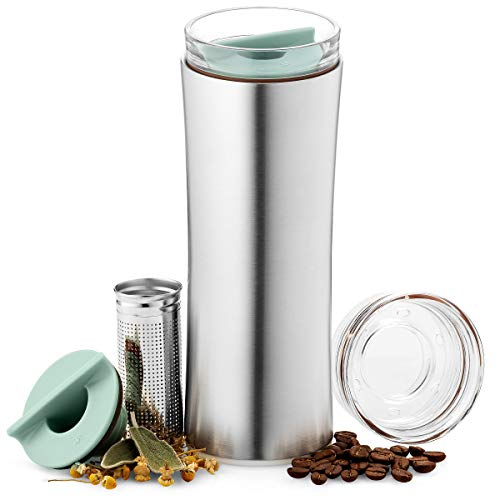 JVR 2G Tea Tumbler with Infuser | 16-ounce Leak-proof Tea Infuser Bottle | BPA-Free Stainless Steel Coffee & Tea Travel Mug | Double-wall Vacuum Insulated Tea Thermos | Loose Leaf Tea Infuser Tumbler