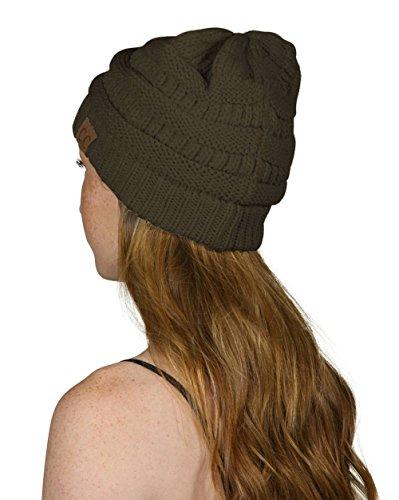 Olive Beanie Womens - C.C Women's Thick Knit Beanie, Dark Olive