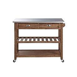 Farmhouse Kitchen Boraam Sonoma Kitchen Cart, Barnwood Wire-Brush farmhouse kitchen islands and carts