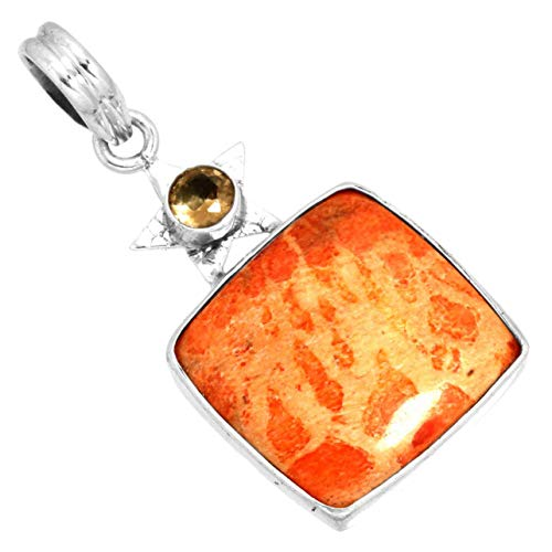 - Natural Sponge Coral Gemstone Unique Jewelry Solid 925 Sterling Silver Pendant