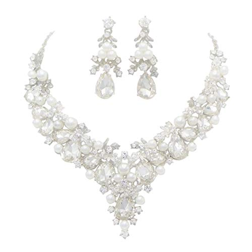 Rosemarie Collections Women's Teardrop Crystal Vine Jewelry Set (Silver Tone) ()