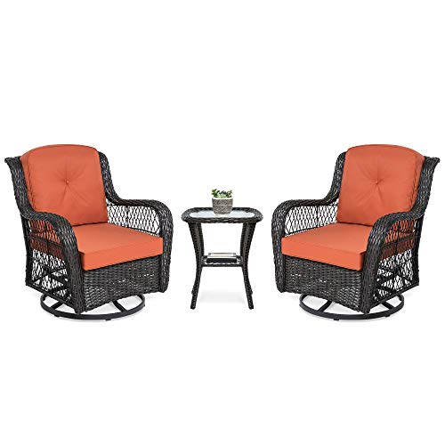 Best Choice Products 3-Piece Outdoor Wicker Patio Bistro Set with 2 360-Degree Swivel Rocking Chairs and Tempered Glass Top Side Table, Rust