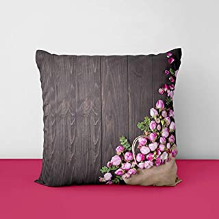 41Sltn4n9eL. SS320 Pink Rose Designs Satin Printed Square Cushion Cover