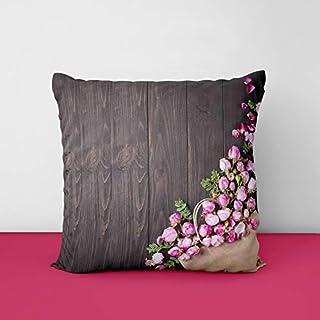 41Sltn4n9eL. SS320 Pink Rose Designs Satin Printed Square Cushion Cover