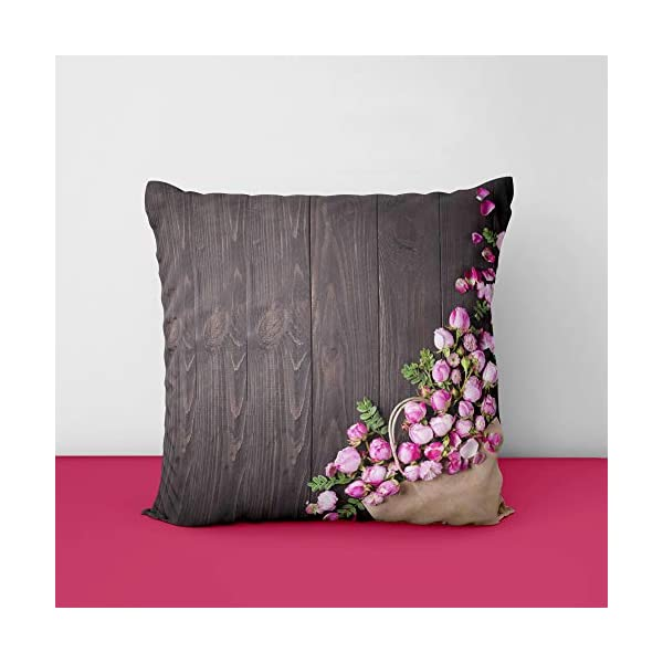 41Sltn4n9eL Pink Rose Designs Satin Printed Square Cushion Cover