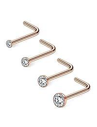 Ruifan 20G 1.5mm 2mm 2.5mm 3mm Jeweled Clear Diamond CZ Nose L Shaped Studs Rings Piercing Jewelry 4PCS