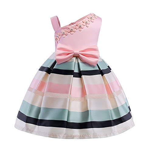 (AIMJCHLD Elegant Flower Petal Girls Dress Children Kids Knee High Bowknot Striped Party Pageant Wedding Dresses Size 7-8T (Pink, 140))