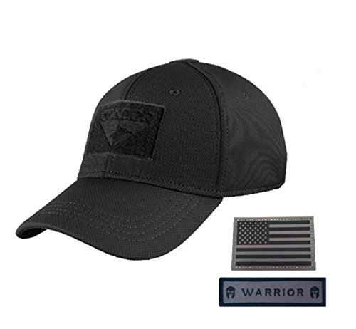 (Condor Flex Tactical Cap (Black, L/XL) + FREE Grey PVC Flag & Warrior Patch)