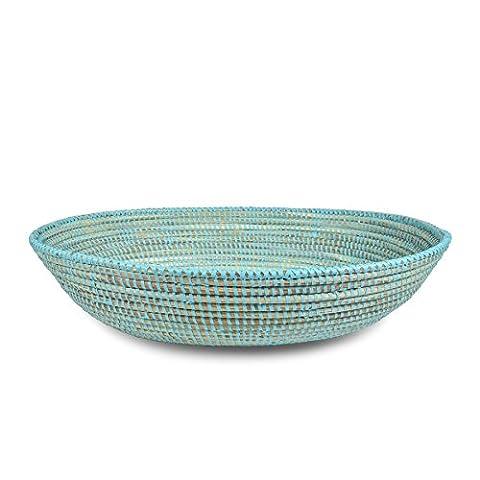 African Fair Trade Hand Woven Oval Basket, Aqua - Hand Woven Oval Basket