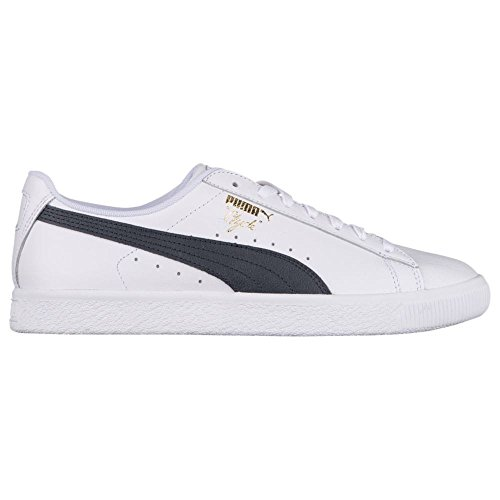 PUMA Select Men's Clyde Sneakers, White/New Navy/Gold, 10.5 D(M) US