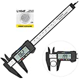 Digital Caliper with Large LCD Screen Plastic Electronic Vernier Caliper Measuring Tool, 0-6 In/0-150 mm Conversion Auto Off Featured with Extra 1 Battery by Bseen (Black)