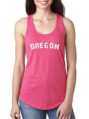 Oregon State Flag Portland City Traveler`s Gift Women's Racerback Tank Top (LHTP) Hot Pink