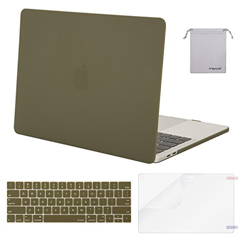 MOSISO MacBook Pro 13 Case 2018 2017 2016 Release A1989/A1706/A1708, Plastic Hard Shell & Keyboard Cover & Screen Protector & Storage Bag Compatible Newest Mac Pro 13 Inch, Capulet Olive