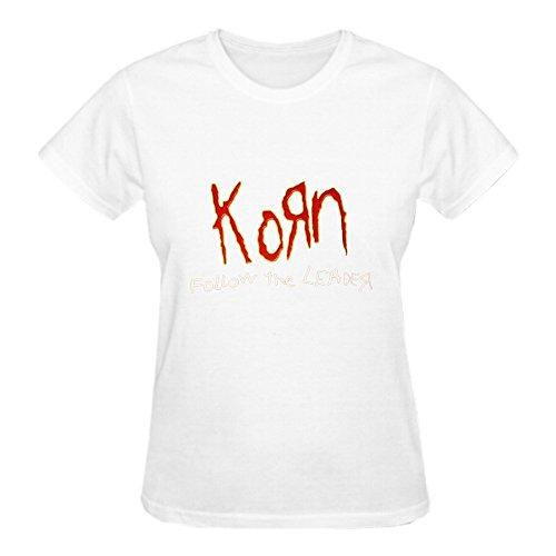 TooWest KoRn New Metal Rock Crewneck T-Shirt for Women White (Printed T-shirts Korn)