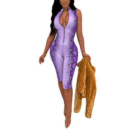 Sprifloral Women's Sexy 1 Piece Outfits Snakeskin Print Zipper Bodycon Short Pants Jumpauit Romper